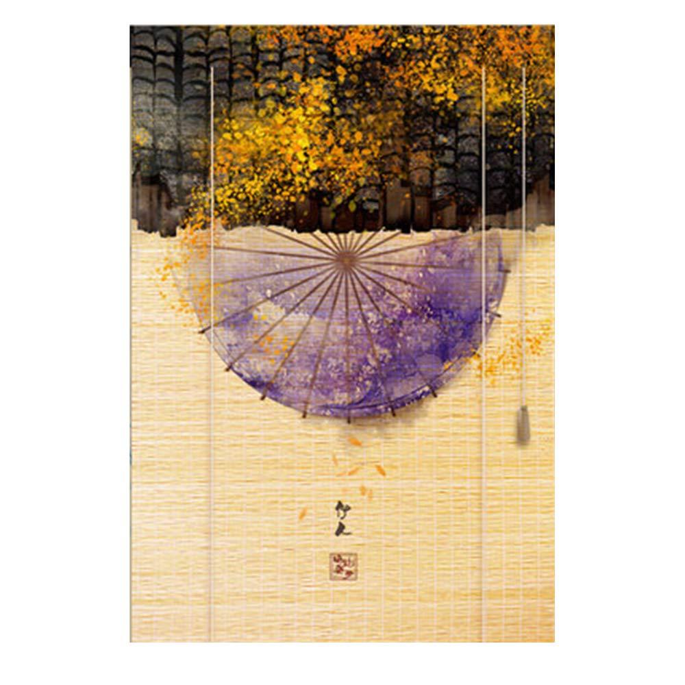 竹スクリーン すだれ ウッドブラインド 中国語の印刷 カーテン 廊下/バルコニー パーティション、 カスタマイズ可能,D,W120*H180CM   B07SKTR9V9