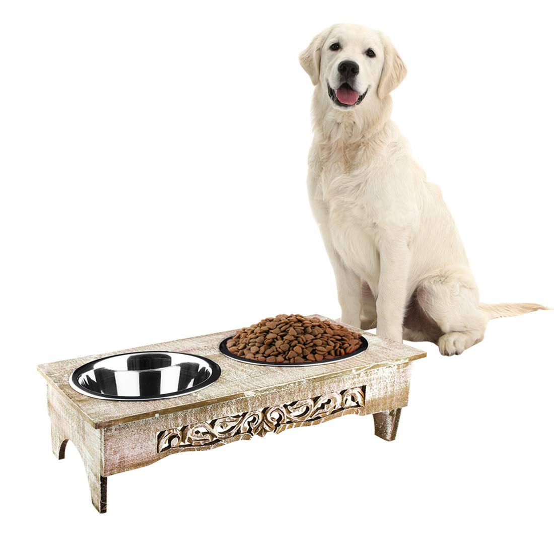 Aheli Wooden Elevated Dog Cat Pet Bird Food Water Feeder Raised Stand Comes with Stainless Steel Bowls by Aheli