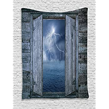 Amazon Com Ambesonne Nature Tapestry Thunder Bolt At