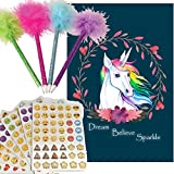 Journal Set For Girls, Feather Pens (4), Emoji Stickers, and Journal (Unicorn)