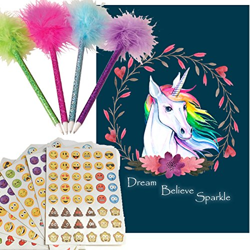 70OFF Journal Set For Girls Feather Pens 4 Emoji Stickers