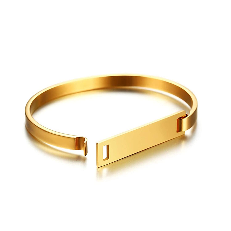 Gnzoe Surgical Steel Bangle Bracelet Plain Band Bracelet Men Women Easy Lock Bracelet Silver//Gold