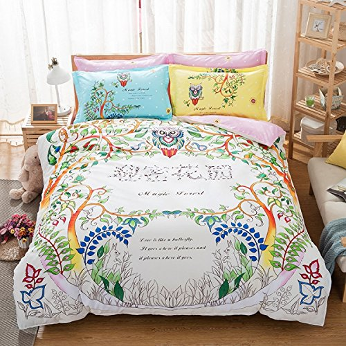 TheFit Paisley Bedding for Woman T400 Girl Dream Duvet Cover Set 100% Cotton, Twin Queen King Set, 4 Pieces (King) (Canopy Bedding Daybed)