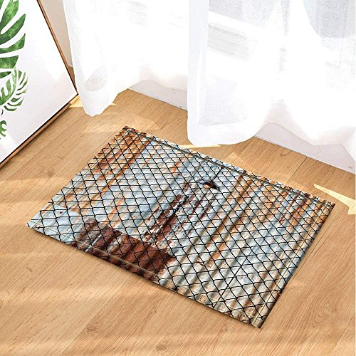 - Rustic Light Decor Lamp with Wired Fence and Rusted Iron Plate Bath Rugs Non-Slip Doormat Floor Entryways Indoor Front Door Mat Kids Bath Mat 15.7x23.6in Bathroom Accessories