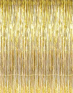 Party Propz Golden Metallic Fringe Foil Curtain (3 Feet by 6 Feet) for birthday decoration, party supplies,birthday party supplies,fringe door curtain