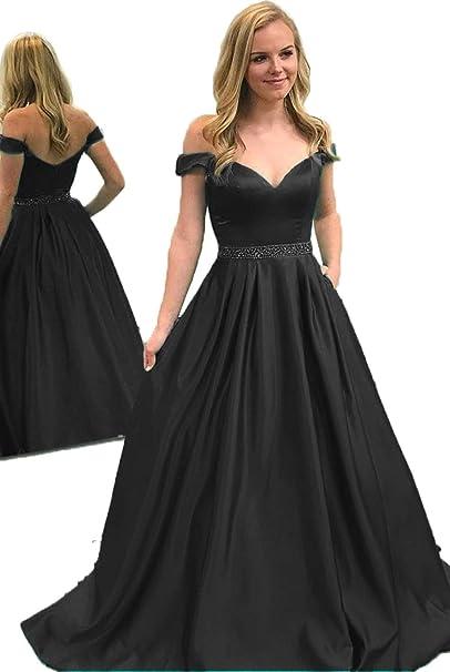 e2b335e58b200 Lover Kiss Off The Shoulder A-Line Prom Dresses Long 2019 Satin ...