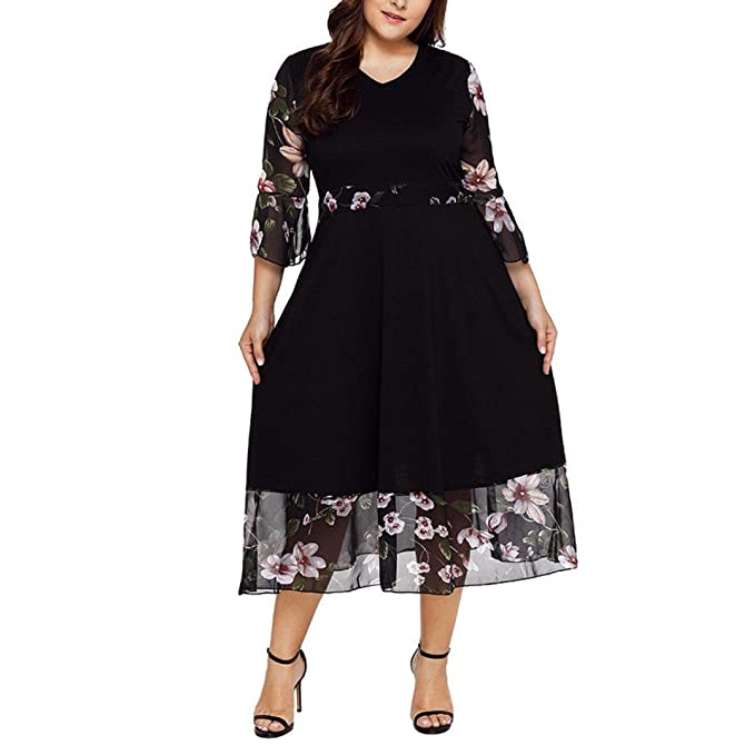 HODOD Women\'s Midi Dresses V Neck Wrap Chiffon Floral Long Sleeve Plus Size  Prom Dress