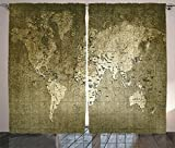 Ambesonne Antique Decor Curtains, Old World Map with Great Texture Nostalgic Ancient Plan Atlas Trace of Life World Print, Living Room Bedroom Decor, 2 Panel Set, 108 W X 84 L Inches, Khaki Beige Review
