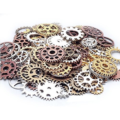 Antique Gears (100 Gram Assorted Antique Steampunk Gears Charms Pendant Clock Watch Wheel Gear for Crafting, DIY Jewelry (Mixed Color))