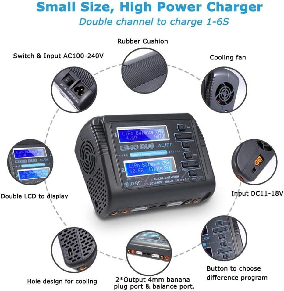 Dual AC150W DC240W 10A C240 1-6S F/ür Li-Ionen-Lebensdauer NiCd NiMH LiHV PB Intelligente Batterie RC Batterie Kitabetty HTRC LiPo-Akku-Ladeger/ät Duo-Entlader