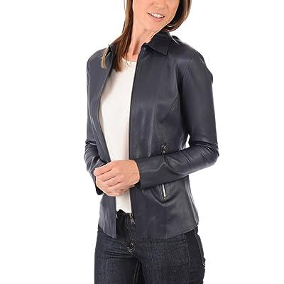 Captain Cory Womens Bluish Bomber Lambskin Genuine Leather Jacket, Biker Jacket at Women's Coats Shop