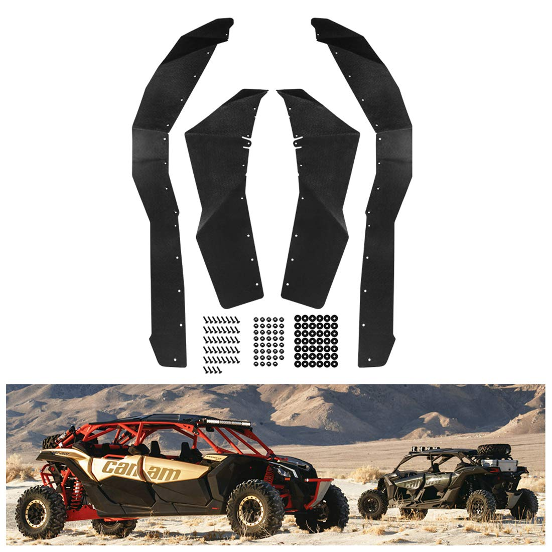 KIWI MASTER Fender Flares Extensions Compatible for 2017-2019 Can Am Maverick X3 Extended Mud Flaps Guards