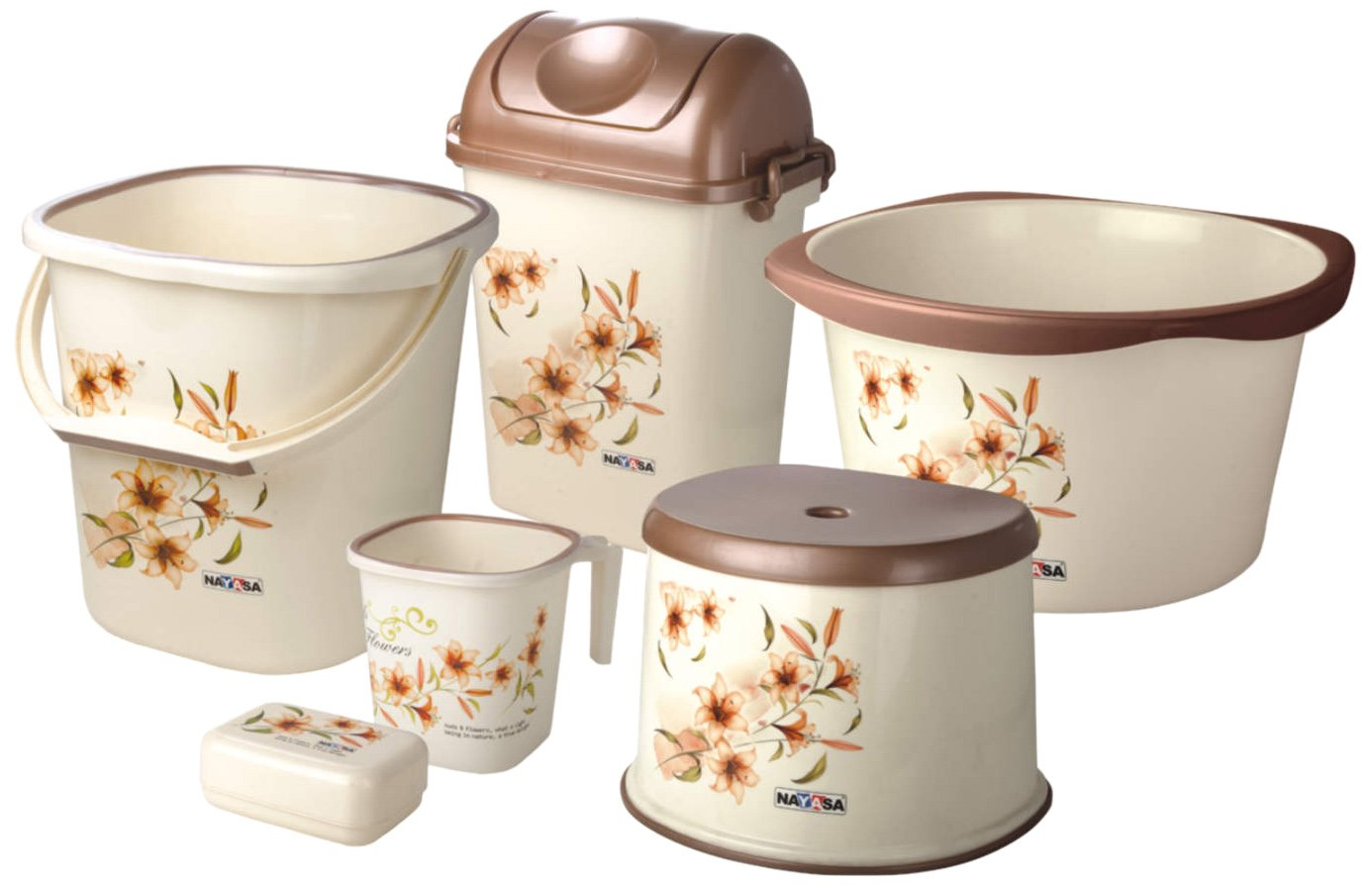 Nayasa Square 6 Piece Bathroom Set Deluxe (Brown): Amazon.in: Home ...