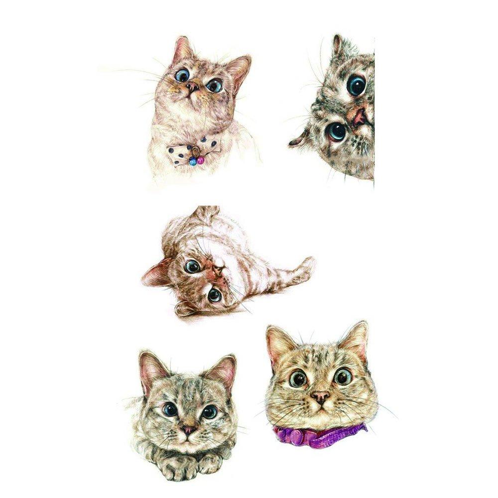 WYUEN 5 PCS Small Cats Women Body Temporary Tattoos Kids Fake Tattoo Stickers Children Body Art 9.8X6cm A-280