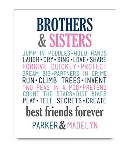 Amazon.com: Brother Sister Paper Wall Art | Brother Sister Decor ...