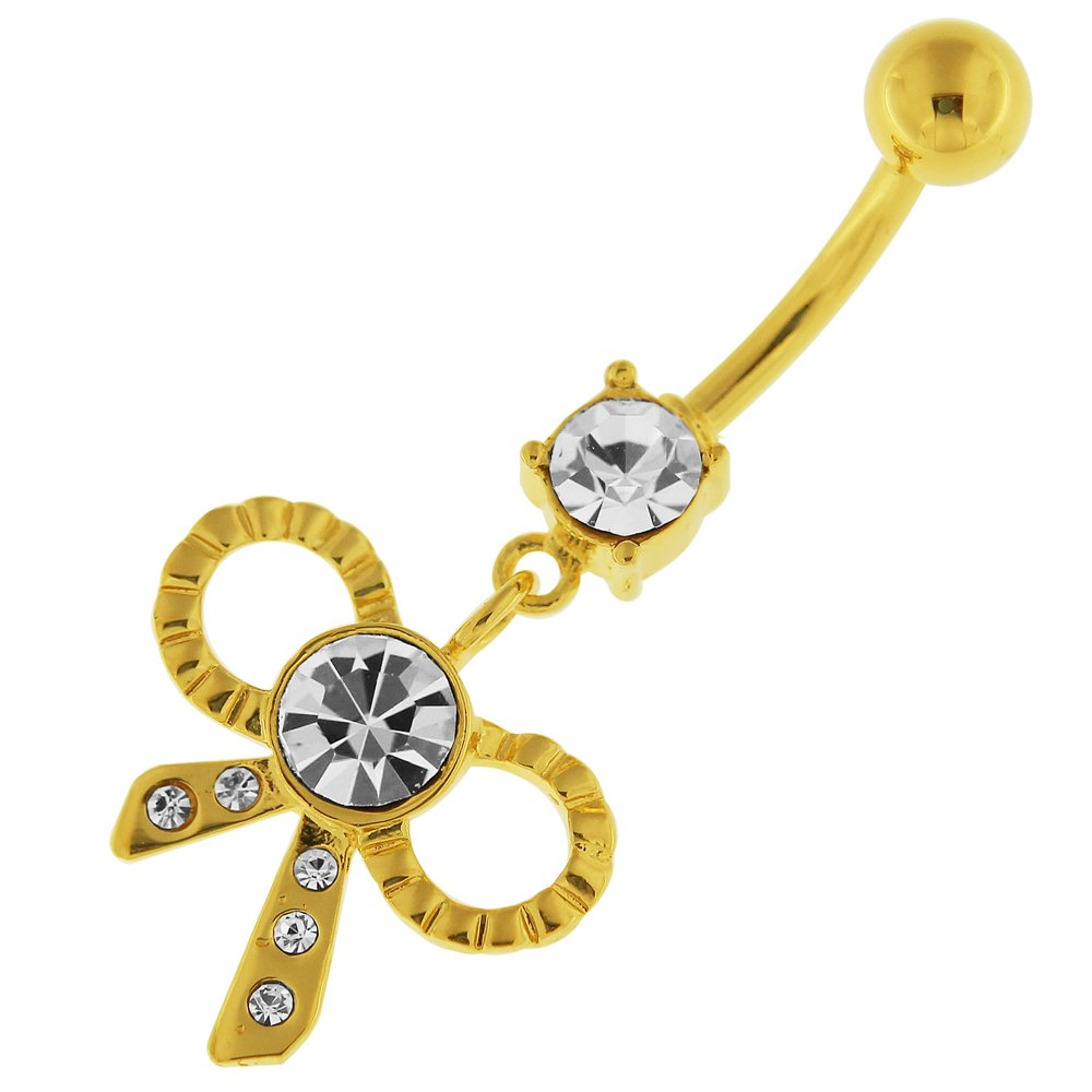 Gold Plated Clear CZ Stone Fancy Ribbon Bow 925 Sterling Silver Belly Button Ring