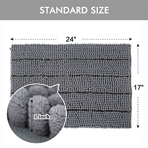 Cloud Mountain Non-Slip Microfiber Bath Rugs Chenille Floor Mat Ultra Soft Washable Bathroom Fast Water Absorbent Bedroom Area Rugs Gray