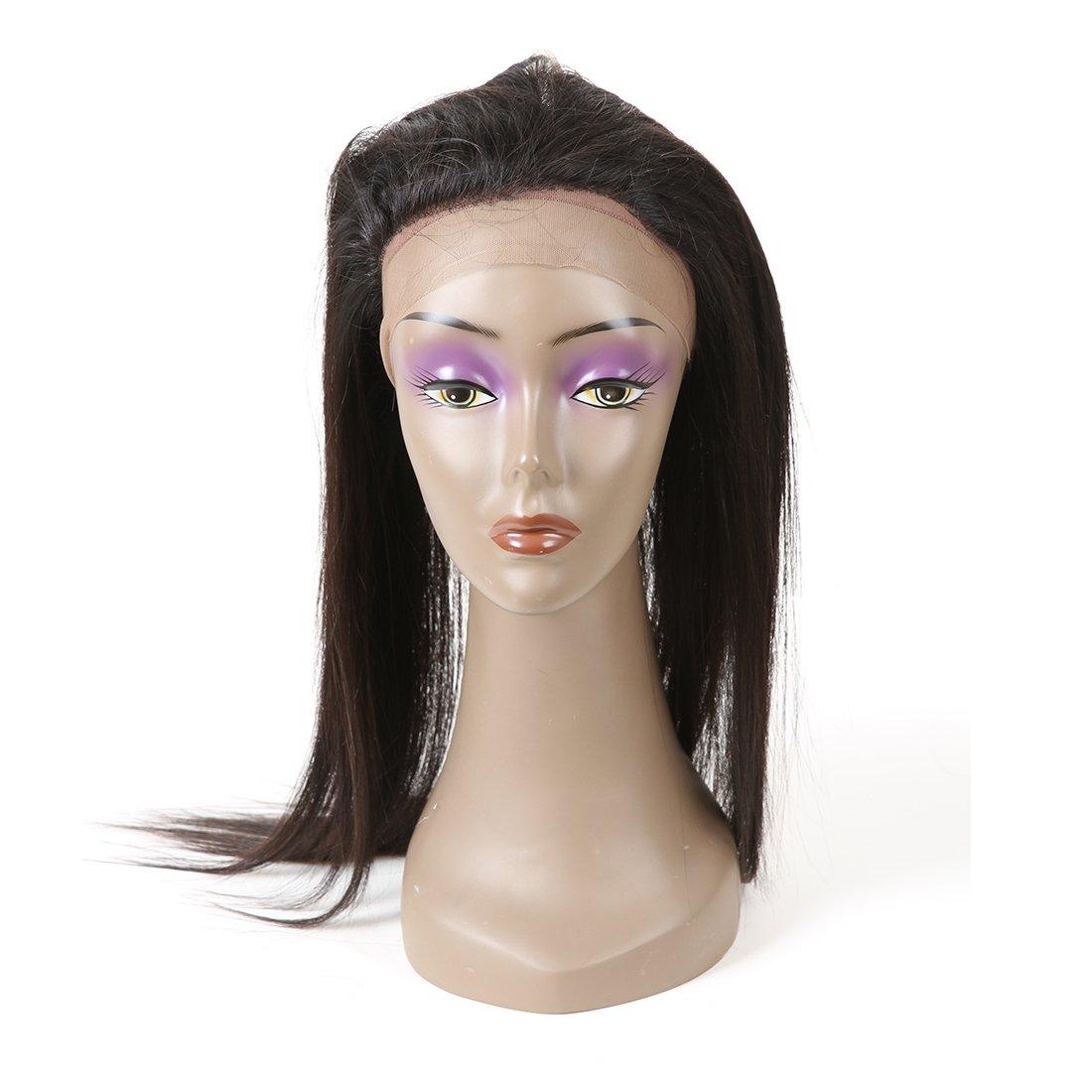Cheveux brésiliens de la Vierge Weave 360 Cheveux de la peau naturelle frontale Remy Fermeture des cheveux droits humains Naturel Noir Couleur (1 pièce, 12 pouces) feibinn