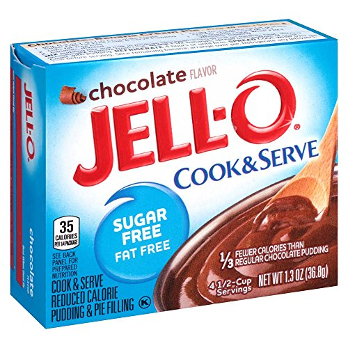 Fat Free Pudding (Jell-O Sugar-Free Chocolate Cook & Serve Pudding Mix 1.3 Ounce Box (Pack of 6))