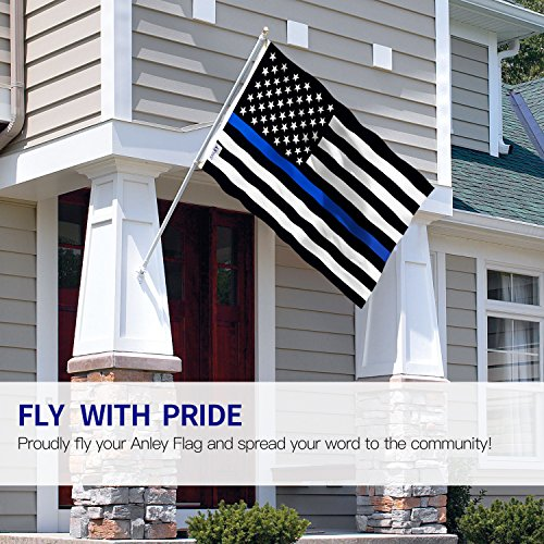 Anley Fly Breeze 3x5 Foot Thin Blue Line USA Flag - Vivid Color and UV Fade Resistant - Canvas Header and Double Stitched - Honoring Law Enforcement Officers Flags Polyester with Brass Grommets by Anley (Image #1)