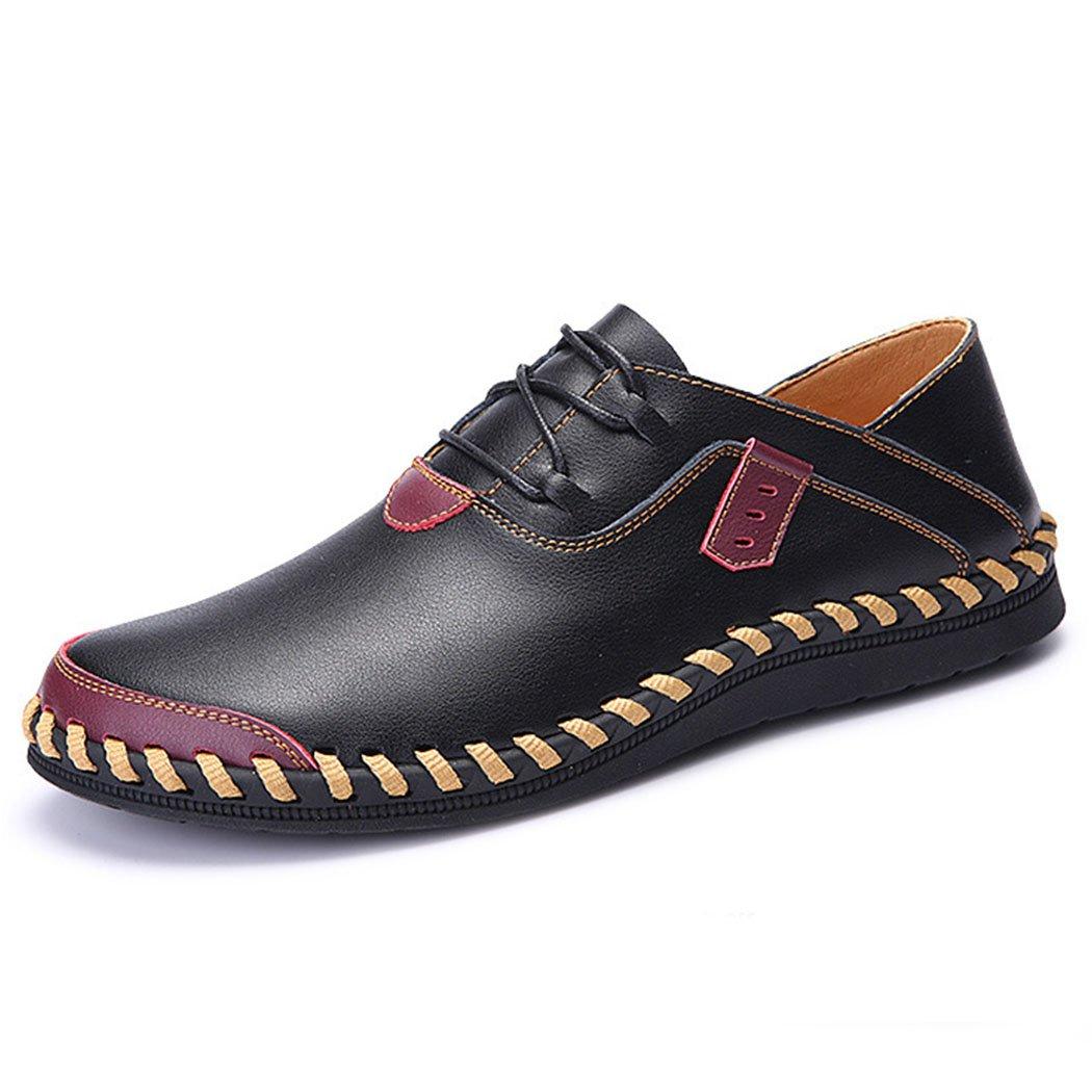 GAOLIXIA Zapatos de Negocios de Cuero Genuino de los Hombres Zapatos Casuales de Fondo Suave Zapatos de Trabajo de Moda Transpirable Zapatos Casuales al Aire Libre para Caminar de Gran Tamaño 38-47 41|Negro