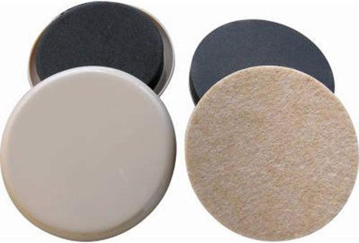 Shepherd Hardware 3960 3-1/2-Inch Reusable, Round, Slide Glide Furniture Sliders, 8-Count, Plastic and Felt