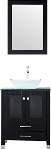 WALCUT 24 Black Bathroom Vanity MDF Cabinet Vanity Mirror Tempered Glass Counter Top White Ceramic Vessel Sink Faucet Pop Up Drain
