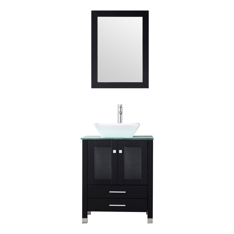 WALCUT 24 Black Bathroom Vanity MDF Cabinet Vanity Mirror Tempered Glass Counter Top White Ceramic Vessel Sink Faucet Pop Up Drain