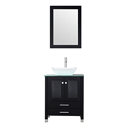 BATHJOY 24 Modern Single Wood Bathroom Vanity Cabinet White