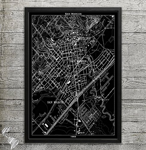 San Marcos TX Map Print, Home or office - Premium San Marcos