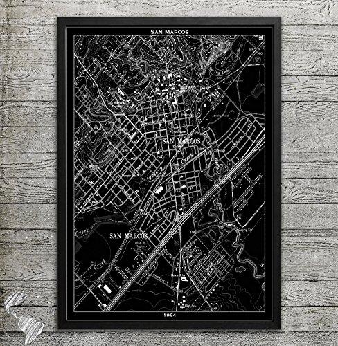 San Marcos TX Map Print, Home or office - San Premium Marcos