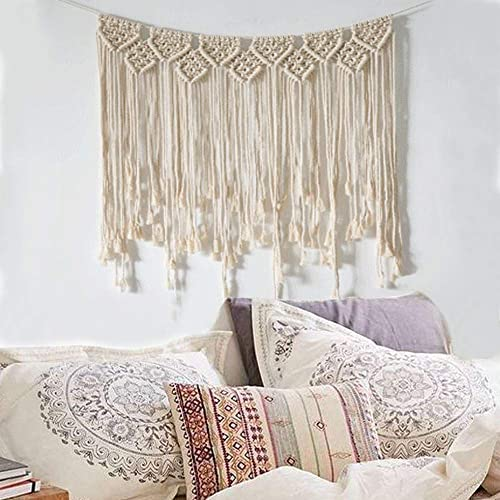 LSHCX Macrame Wall Hanging Woven Curtain Fringe Garland Banner – Boho Chic Bohemian Home Backdrop Decoration Tapestry, 29.5 W x 39 L