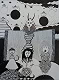 ORIGINAL DRAWING - Black Waterproof Ink FANTASY DRAWING on Heavy STRATHMORE White Paper - SIZE:12''x9'' - Signed by the Artist - ONE-OF-A-KIND -