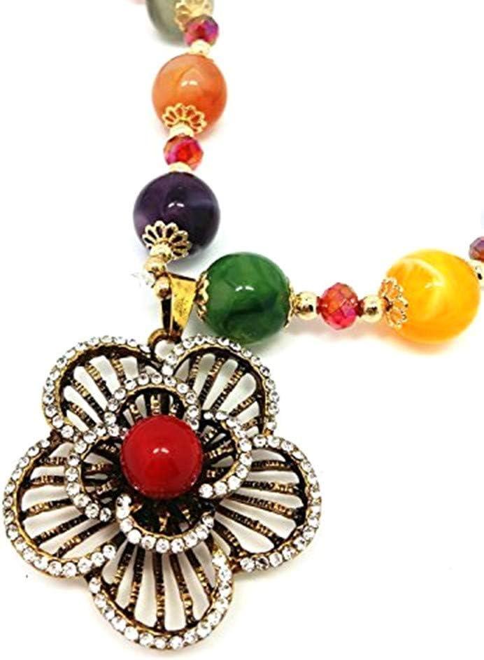 QTMY Diamond Beaded Boho Pendant Long Necklace Jewelry for Women (Flowers)