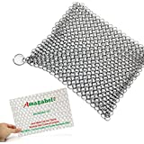 Amagabeli Home Cast Iron Cleaner XL 8x6 Inch 316L Highest Grade Stainless Steel Chainmail Scrubber