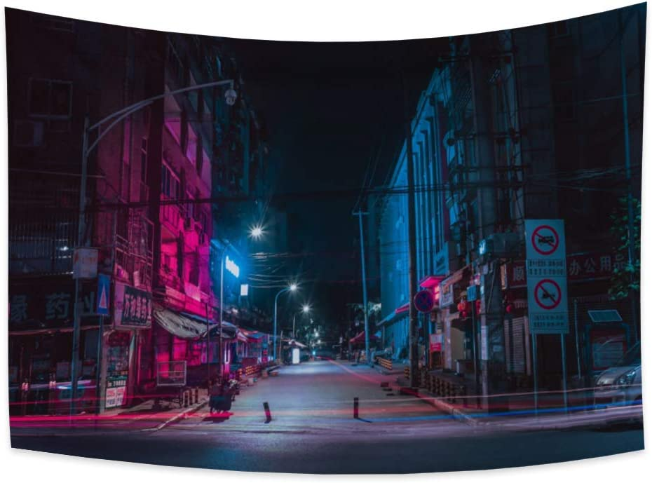 Yongto 59.1x51.2 Inches Modern City Tapestry City Night Street View Cityscape Tapestry City Landscape Tapestry Wall Hanging for Bedroom Living Room Home Decor