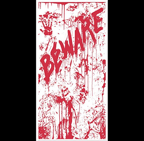 Psycho Dexter Zombie--BEWARE BLOODY DOOR COVER--Halloween Horror Prop Decoration]()