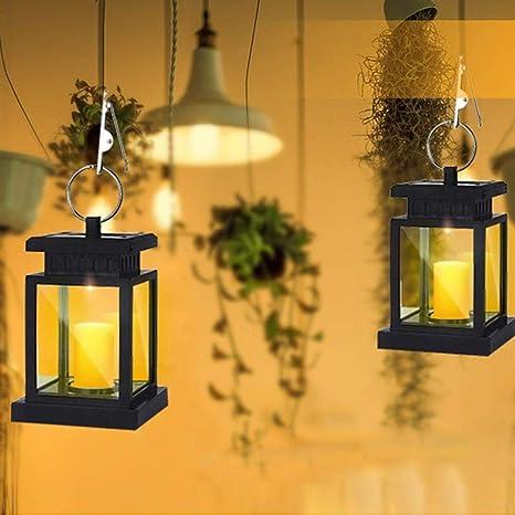 Vela Solar Linterna impermeable LED parpadeante Velas sin llama Jardín al aire libre Colgante Paraguas Farolillos