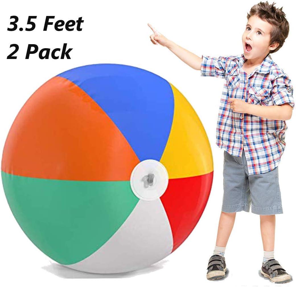 Top Race Bolas de Playa inflables Gigantes de 3.5 pies (42 Pulgadas) para la Piscina, la Playa, Las Fiestas de Verano y los Regalos | 2 Pack Blow up Pelota de Playa de Color Arco Iris (2 Bolas)