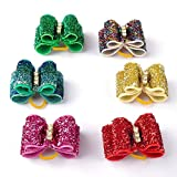 Didog Christmas 50 Pcs Colorful Shinning Pet Cat Dog Hair Bows,Christmas Style Topknot,Dog Grooming Accessories for Groomer Business