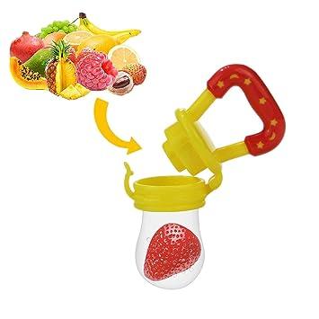 Chupete de frutas - Yisscen Chupete para alimentos frescos con 3 tamaños diferentes Reemplazo de pezones de silicona (S, M, L) - Juguete para niños ...