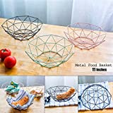 Caveen Metal Iron Wire Storage Basket Modern Creative Fruit Bread Candy Snack Bowl Household Decor Fruit plate Black Decagonal