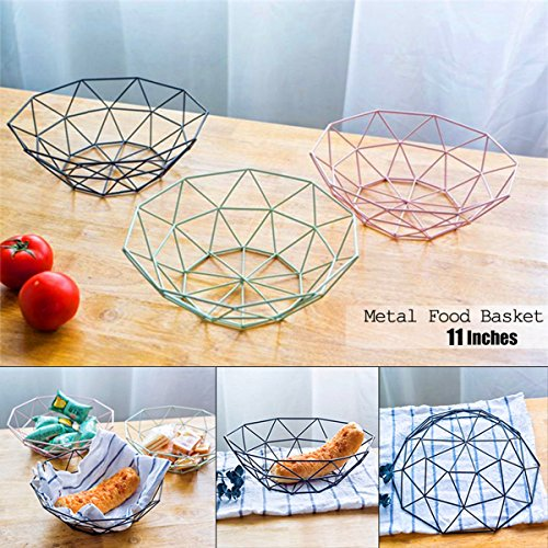 Caveen Metal Iron Wire Storage Basket Modern Creative Fruit Bread Candy Snack Bowl Household Decor Fruit plate Black Decagonal by Caveen