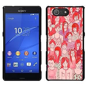 LECELL--Funda protectora / Cubierta / Piel For Sony Xperia Z3 Compact -- Croud Hipster significado profundo rojo del arte --