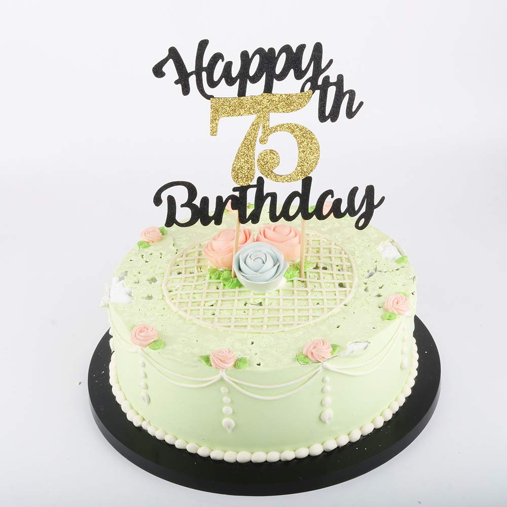 Incredible Lveud Happy Birthday Cake Topper Black Font Golden Numbers 75Th Funny Birthday Cards Online Elaedamsfinfo