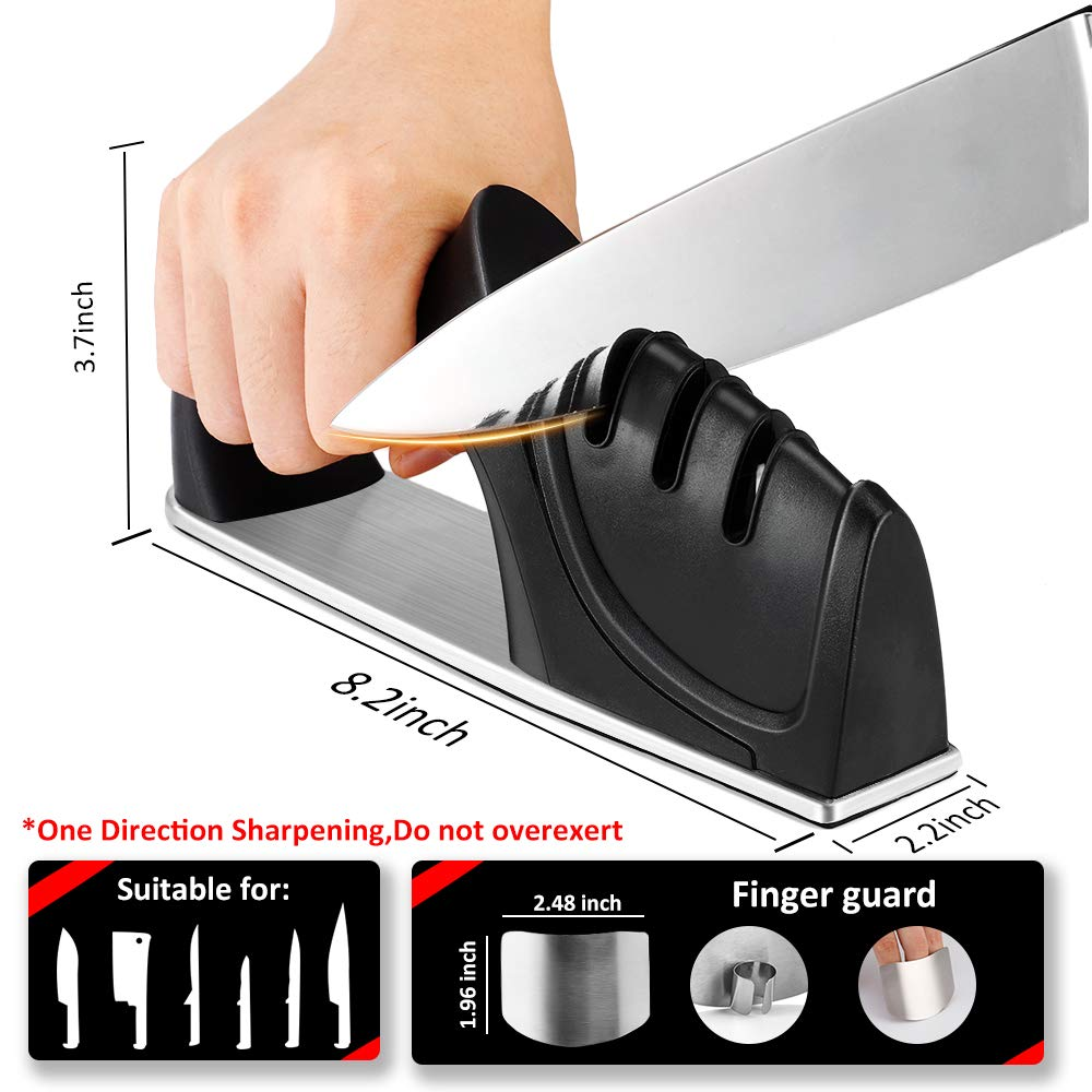 Sunhanny Kitchen Knife Sharpener,3-Stage Knife Sharpening Tool Helps Repair,Restore and Polish,Free Stainless Steel Finger Guard for Every Purchase by Sunhanny (Image #4)