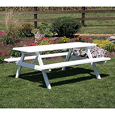 """A & L Furniture Yellow Pine Picnic Table with Attached Benches & 2"""" Umbrella Hole-P111"""
