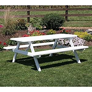 A & L Furniture Yellow Pine Picnic Table with Attached Benches (No Hole), 4', Redwood Stain