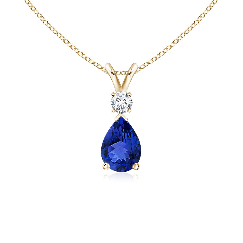 Tanzanite Teardrop Pendant with Diamond in 14K Yellow Gold (7x5mm Tanzanite) by ANGARA