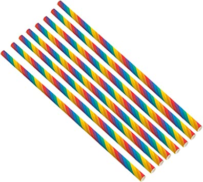 Toyvian Rainbow Paper Straws 300 Piezas Biodegradable Banda de ...